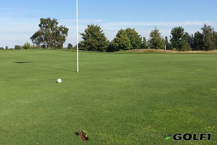 Treffer! Der Golfball liegt tot am Stock © jfx / golf1