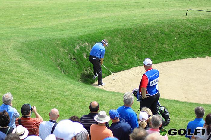 Andrew Oldcorn rettet sich aus dem Bunker © jfx / golf1