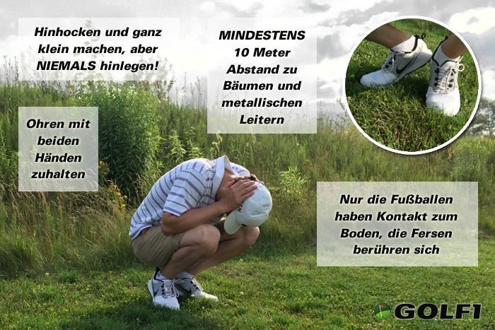 Golfer bei Gewitter